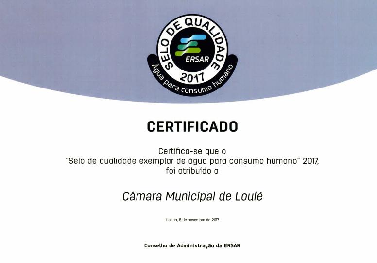 Certificado Qualidade Água