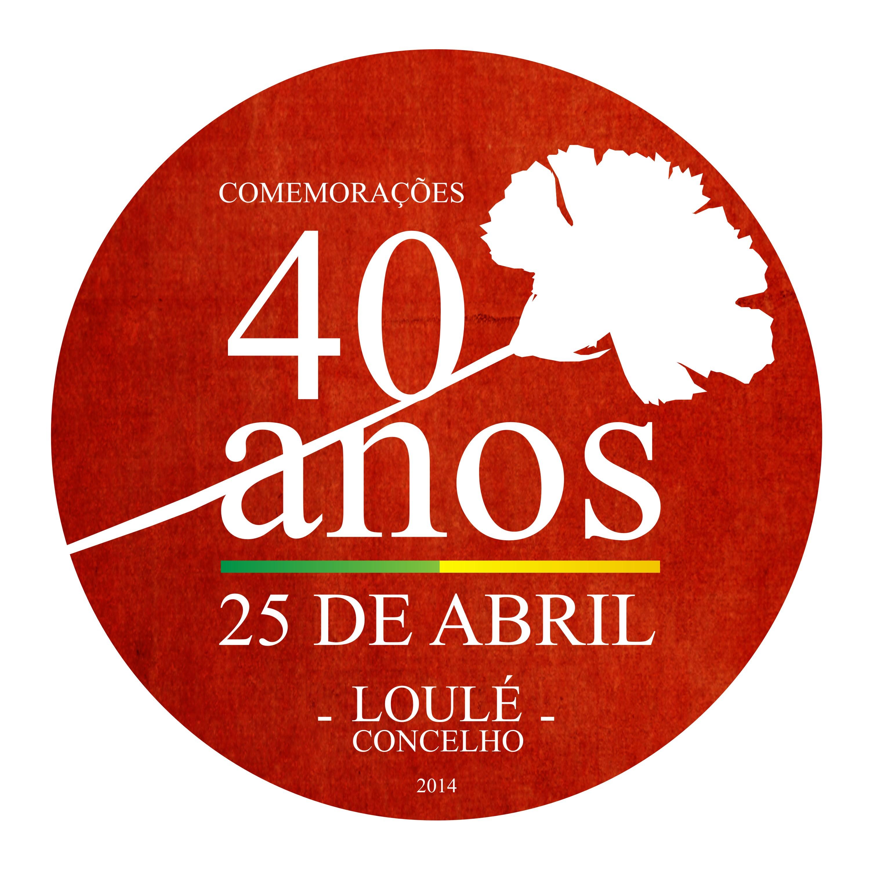 Logotipo das Comemorações dos 40 anos do 25 de abril em Loulé
